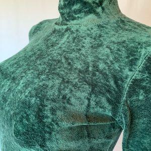 VTG GAP stretchy green crushed velour turtleneck